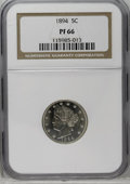 Proof Liberty Nickels: , 1894 5C PR66 NGC. A fully brilliant light gray Premium Gem proofexample of this scarce date. Although proofs are not any r...