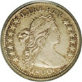 Early Half Dimes: , 1800 H10C LIBEKTY AU55 PCGS. V-2, LM-3, R.4. An intricately struckpearl-gray and golden-brown representative. Clean surfac...