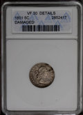 Early Half Dimes: , 1801 H10C --Damaged--ANACS. VF30 Details. V-1 and 2, LM-2, R.4. Amark near obverse star 8 causes a nearby bend, which also ...