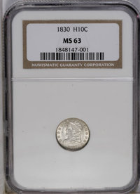 1830 H10C MS63 NGC. V-4, LM-6, R.5. A scarce die variety identified by a tiny die dot left of the base of the 1 in the d...