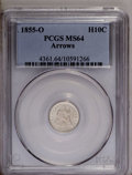Seated Half Dimes: , 1855-O H10C Arrows MS64 PCGS. Struck from a rusted obverse die,with a thick die crack that bisects the obverse stars, pass...
