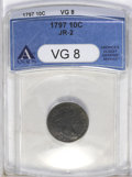 Early Dimes: , 1797 10C 13 Stars VG8 ANACS. JR-2, R.4. The legends and stars aresharp for the grade, with only the top of the U in UNITED...