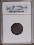 Early Dimes: , 1798/97 10C 16 Stars on Reverse--Cleaned--ANACS. VG8 Details. JR-1,R.3. Deep powder-blue, tan, and lilac toning blanket th...