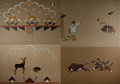 """Miscellaneous:Ephemera, [American Indian Art]. Group of Four Reproductions of Plains Indian Art, circa 1979. 19.5"""" x 15.5"""". Scenes depic..."""
