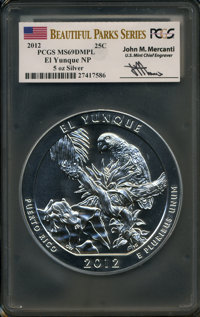 2012 25C El Yunque Five-Ounce Silver MS69 Deep Mirror Prooflike PCGS. Ex: Signature of John M. Mercanti, 12th Chief Engr...