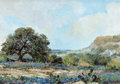 Fine Art - Painting, American:Contemporary   (1950 to present)  , AMERICAN SCHOOL (20th Century). Bluebonnet Landscape, 1972.Oil on board. 5 x 7 inches (12.7 x 17.8 cm). Signed and date...