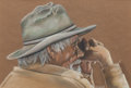 Fine Art - Work on Paper:Drawing, MARILYN HARTL (American, b. 1947). Profile of a Cowboy.Pastel on paper. 11-3/4 x 17-3/4 inches (29.8 x 45.1 cm) (sight)...