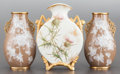 Paintings, A PAIR OF PATE-SUR-PATE VASES WITH ANOTHER VICTORIAN VASE. Circa 1910. Marks to pair: G & CO, W (within shield). 9 inche... (Total: 3 Items)