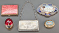 Silver Smalls:Other , FOUR LIDDED ENAMELED BOXES AND A GORHAM SILVER CARD CASE .19th/20th centuries. Marks to card case: (lion-anchor-G),STERL... (Total: 5 Items)
