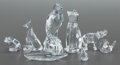Glass, EIGHT MOLDED GLASS ANIMAL FIGURES BY VARIOUS MAKERS INCLUDING STEUBEN AND BACCARAT. 20th century. Marks: various marks. 10 i... (Total: 8 Items)