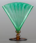 Art Glass:Steuben, A STEUBEN GLASS GREEN OPTIC RIBBED AND TOPAZ POMONA FAN VASE. Circa1930. Marks: F. CARDER, STEUBEN. 8-1/4 inches high (...