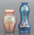 Art Glass:Other , AN AUSTRIAN IRIDESCENT GLASS SILVER OVERLAY VASE WITH ANOTHERIRIDESCENT VASE. 20th century. 6-3/8 inches high (16.2 cm) (ta...(Total: 2 Items)