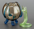 Art Glass:Other , A GLASS DRIP BOWL AND SNAKE-FORM BUD VASE. 20th century. 5-1/2inches high (14.0 cm) (drip bowl). PROVENANCE:. Property fr...(Total: 2 Items)