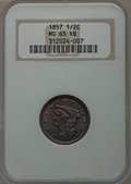 Half Cents, 1857 1/2 C MS65 Red and Brown NGC. C-1, B-1, R.2....
