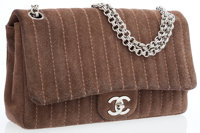 Chanel Taupe Suede Medium Classic Single Flap Bag with Silver Hardware