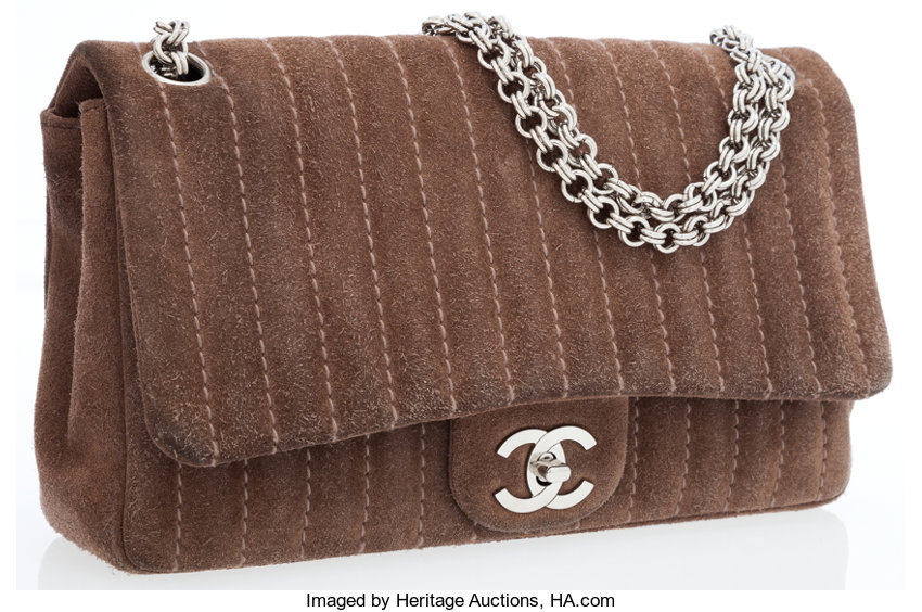 16db4d8194bd Chanel Taupe Suede Medium Classic Single Flap Bag with