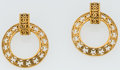 Luxury Accessories:Accessories, Chanel Hammered Gold 2-Way CC Hoop Earrings. ...