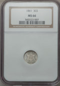Three Cent Silver, 1861 3CS MS66 NGC....