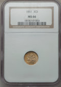 Three Cent Silver, 1851 3CS MS66 NGC....