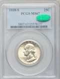 Washington Quarters, 1938-S 25C MS67 PCGS. CAC....