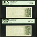 Fr. 1926-F $1 2001 Federal Reserve Notes. Two Consecutive Examples. PCGS Very Choice New 64PPQ
