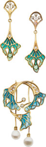 Estate Jewelry:Suites, Diamond, Plique-a-Jour Enamel, Gold Jewelry Suite. ...