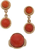Estate Jewelry:Suites, Coral, Gold Jewelry Suite. ... (Total: 2 Items)