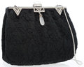 Luxury Accessories:Bags, Judith Leiber Black Lace Evening Bag with Frosted Quartz &Crystals. ...