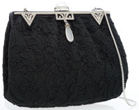 Judith Leiber Black Lace Evening Bag with Frosted Quartz & Crystals