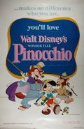 Miscellaneous:Movie Posters, [Movie Posters]. [Walt Disney]. Pinocchio. One sheet. 1978Re-release. 27 x 41 inches. Folded and rolled. Fold c...