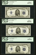 Small Size:Silver Certificates, Fr. 1654 $5 1934D Narrow Silver Certificates. Three Examples. PCGS New 62PPQ-Gem New 66PPQ.. ... (Total: 3 notes)
