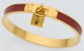 Luxury Accessories:Accessories, Hermes Rouge Vif Courchevel Leather Kelly Cadena Bangle Braceletwith Gold Hardware. ...