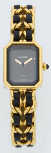 Luxury Accessories:Accessories, Chanel Premiere Ladies Watch with Classic Gold Chain and LeatherStrap Size L. ...