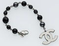 Luxury Accessories:Accessories, Chanel Faux Pearl & Black Beaded Bracelet with Large GunmetalCC. ...