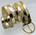 Luxury Accessories:Accessories, Miu Miu Gold & Silver Metallic Snakeskin Patchwork Belt withGold Hardware. ...