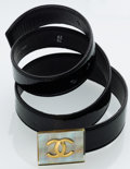 Luxury Accessories:Accessories, Chanel Black Patent Leather Belt with Iridescent CC Buckle. ...