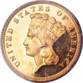 Proof Three Dollar Gold Pieces, 1883 $3 PR64+ Deep Cameo PCGS. CAC....