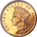 Proof Three Dollar Gold Pieces, 1889 $3 PR63 Cameo PCGS. CAC....