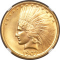 Indian Eagles, 1907 $10 No Periods MS64 NGC. CAC....