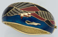 Luxury Accessories:Accessories, Balenciaga Gold Bracelet with Blue, Black & Red Enamel . ...