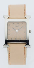 Luxury Accessories:Accessories, Hermes Classic Stainless Steel H Hour Watch with Beige Calf BoxLeather Strap. ...