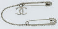 Luxury Accessories:Accessories, Chanel Silver & Crystal Double Pin Brooch with CC Detail. ...