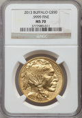 Modern Bullion Coins, 2013 G$50 One-Ounce American Buffalo MS70 NGC. .9999 Fine. NGCCensus: (544). PCGS Population (1)....