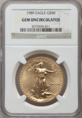 Modern Bullion Coins, 1989 G$50 One-Ounce Gold Eagle Gem Uncirculated NGC. NGC Census: (0/885). PCGS Population (8/762). Mintage: 415,790. Numism...
