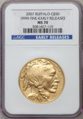 Modern Bullion Coins, 2007 G$50 One Ounce Gold Buffalo, Early Releases MS70 NGC. .9999Fine. NGC Census: (12963). PCGS Population (298). Numisme...