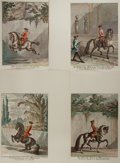 Books:Prints & Leaves, Group of Four Johann Elias Ridinger Hand-Colored Horse RidingEngravings. Captions in German and French. Each measures appro...