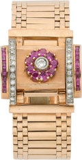 Estate Jewelry:Watches, Retro Swiss Lady's Diamond, Ruby, Gold Covered Dial Wristwatch. ...