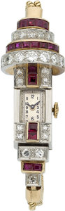 Estate Jewelry:Watches, Retro Swiss, Lady's Diamond, Ruby, Gold Wristwatch. ...
