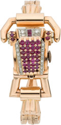 Estate Jewelry:Watches, Lucien Piccard Lady's Diamond, Ruby, Gold Wristwatch, circa 1930....