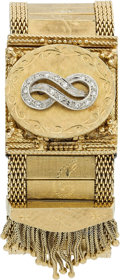 Estate Jewelry:Watches, Lucien Piccard Lady's Diamond, Mother-of Pearl, Gold Covered DialWristwatch. ...
